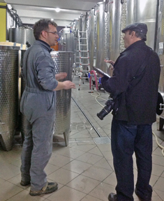 Oliver and Terry talking about wine at Franc Arman Winery in Croatia.