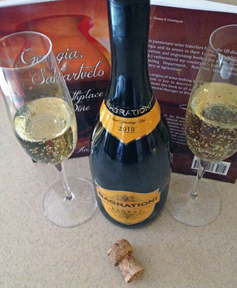 """Our book """"Georgia, Sakartvelo: the Birthplace of Wine"""" and a bottle of sparkling wine from the country Georgia."""