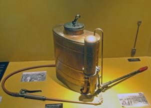 Display of spraying equipment