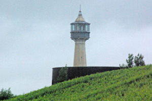 Lighthouse of Verzenay surrounded by vines in Champagne