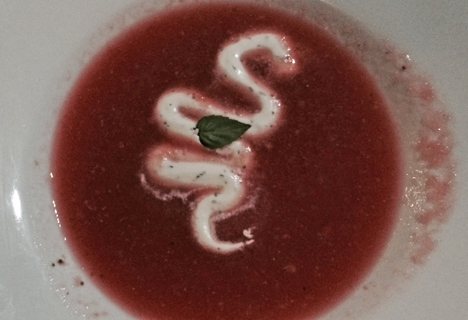 On a hot summer evening, watermelon/strawberry soup was flavorful.