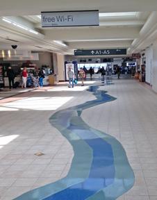 Sacramento International Airport has floor tile representing the Sacramento River.