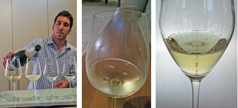 In the Penedés region of Catalonia, Spain, cavas are served in white wine glasses and flutes.