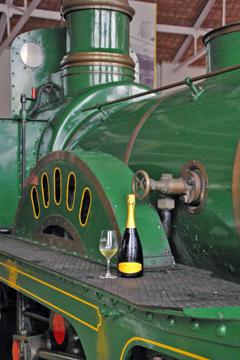 Cava tasting in a train museum in Spain