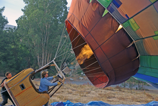 Pilot inflating the balloon for a flight over Temecula, California.
