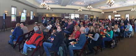 A large group attended our author talk at Harvest Ridge Winery.