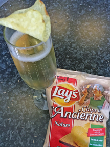 champagne and potato chips