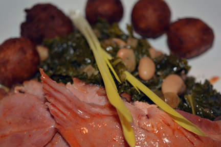 ham (cholula/honey glaze) greens & beans (smoke kale, bacon and white beans) hush!puppies (masa, sweet corn and onion) boiled peanuts (raw peanuts, chipotle and old bay)