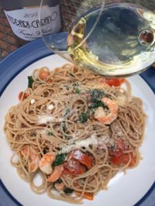 Capellini with Shrimp, Tomatoes and Arugula