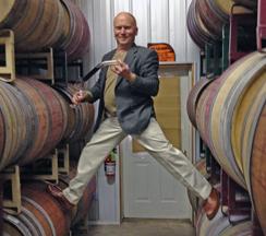 Winemaker Cameron Stark demonstrates his wine barrel ballet.