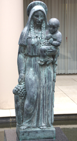 statue of Madonna and grapes