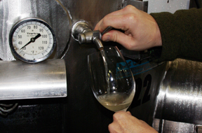 tasting wine from tanks