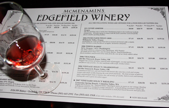 Edgefield Winery wines
