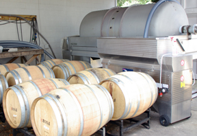 press and wine barrels